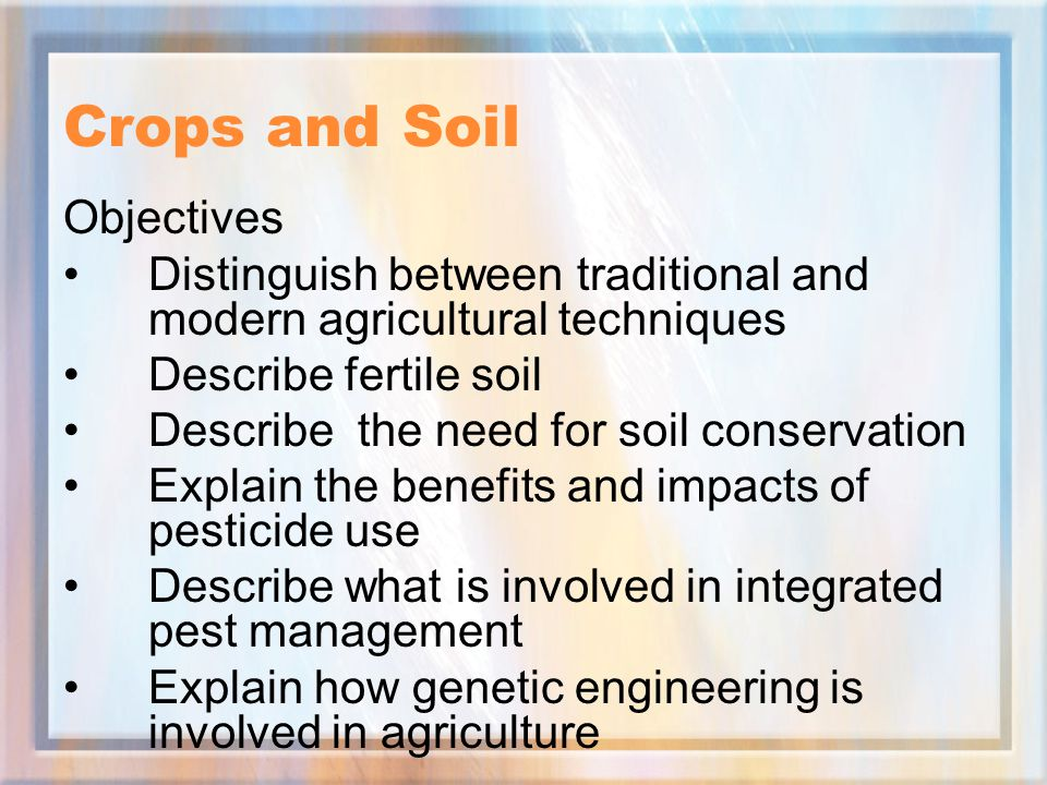 Crops and Soil Objectives