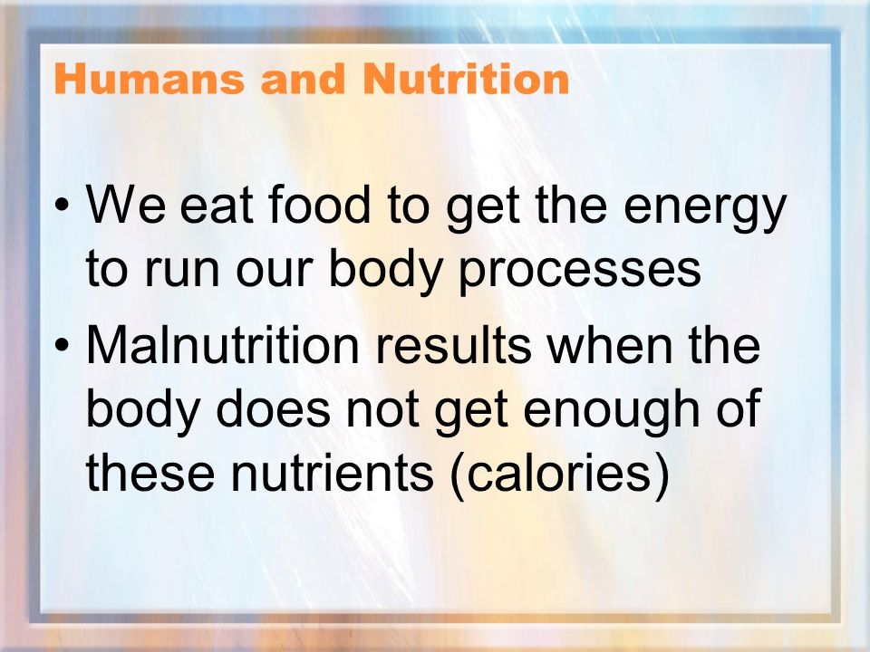 We eat food to get the energy to run our body processes