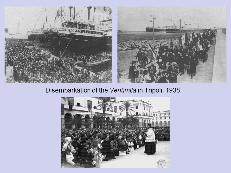 Disembarkation of the Ventimila in Tripoli, 1938.