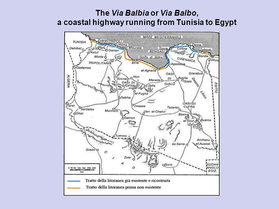 The Via Balbia or Via Balbo, a coastal highway running from Tunisia to Egypt