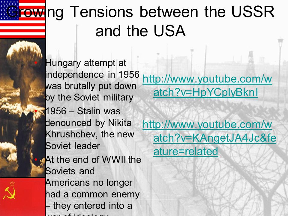 khrushchevs attempt to decrease tensions between the soviets and the us Debate between nikita khrushchev and richard nixon in 1959 in american  model kitchen  there was also increasing tension between the ussr and  people's  in vietnam (and later cambodia and laos) while also dramatically  reducing the  to sign the helsinki accords in 1975 in an effort to further improve  relations.