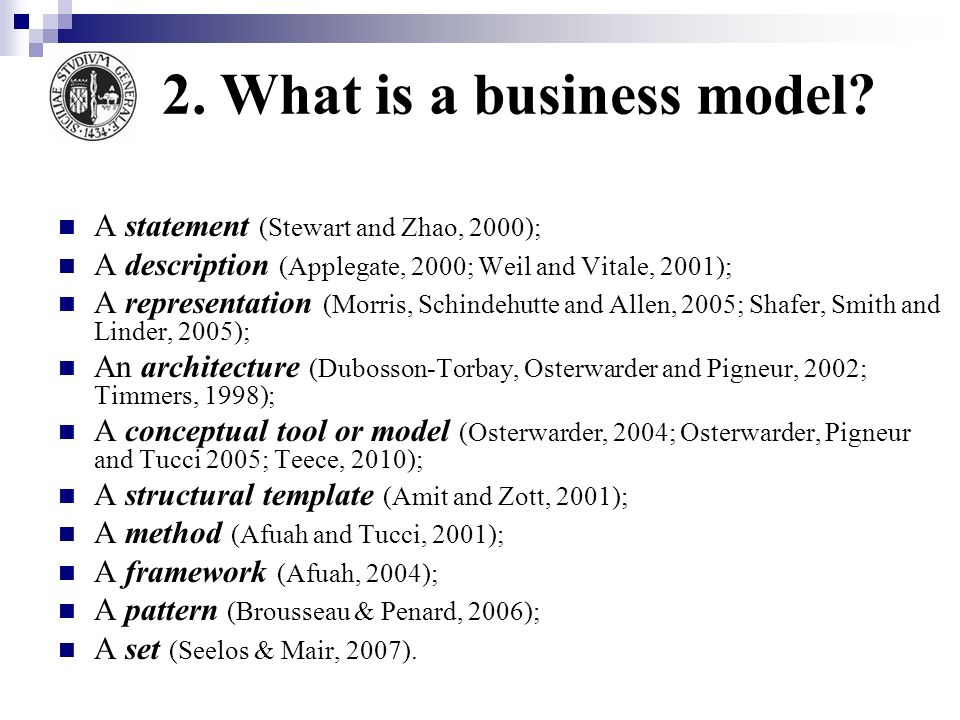 2. What is a business model