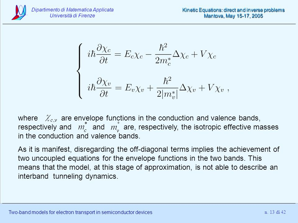 where are envelope functions in the conduction and valence bands, respectively and and are, respectively, the isotropic effective masses in the conduction and valence bands.