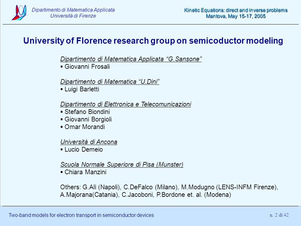 University of Florence research group on semicoductor modeling