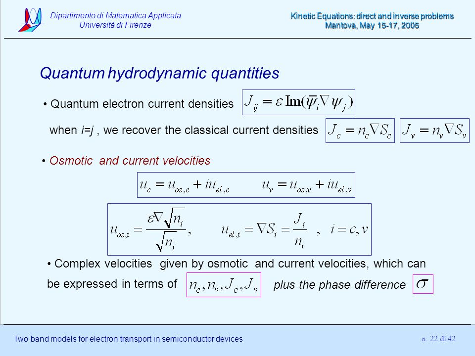 Quantum hydrodynamic quantities
