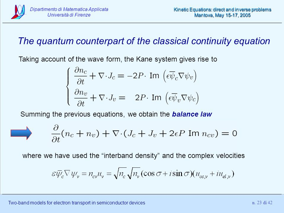 The quantum counterpart of the classical continuity equation
