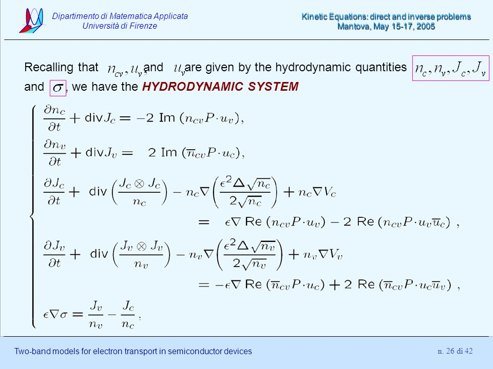 Recalling that and are given by the hydrodynamic quantities