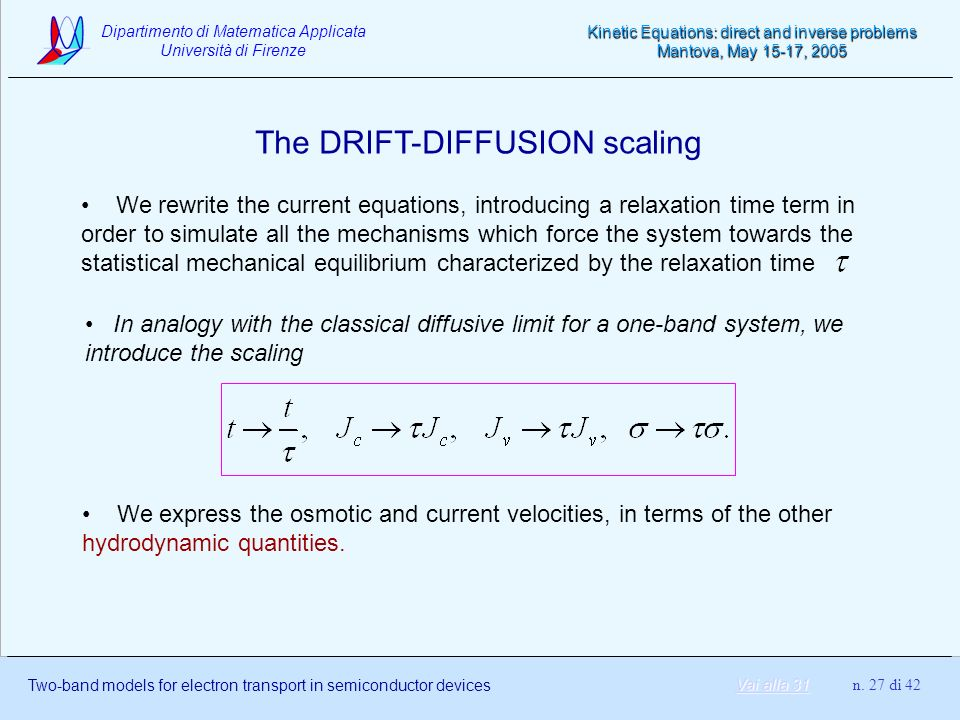 The DRIFT-DIFFUSION scaling