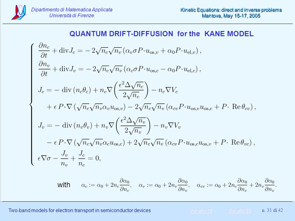 QUANTUM DRIFT-DIFFUSION for the KANE MODEL