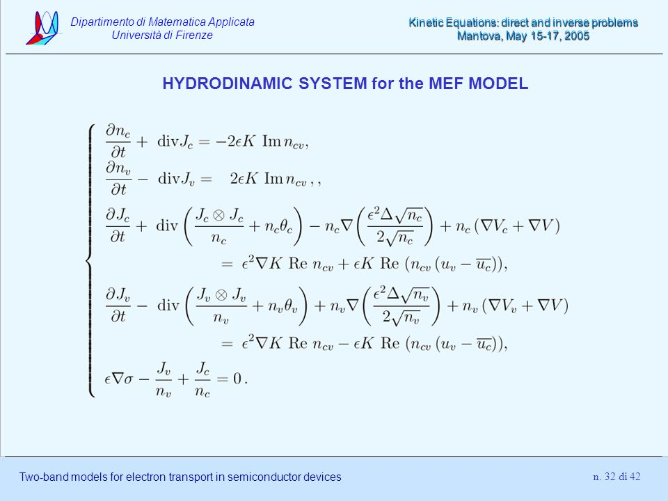 HYDRODINAMIC SYSTEM for the MEF MODEL