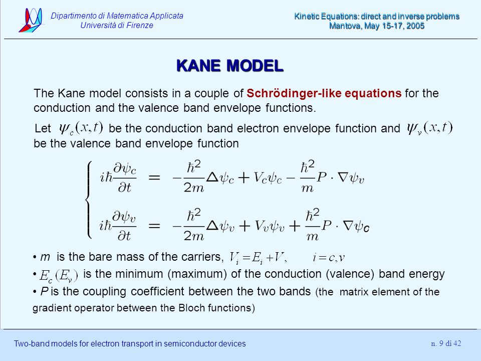 KANE MODEL The Kane model consists in a couple of Schrödinger-like equations for the conduction and the valence band envelope functions.