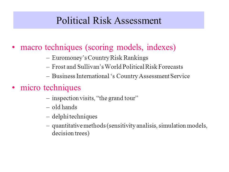 assessing political risk Key words: political risk, institutions, fdi, multinational corporations  related  to each other by varying degrees, as they all assess political risk and institutions .
