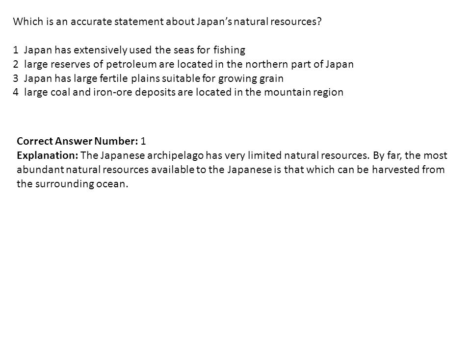 Which Is An Accurate Statement About Japan S Natural Resources