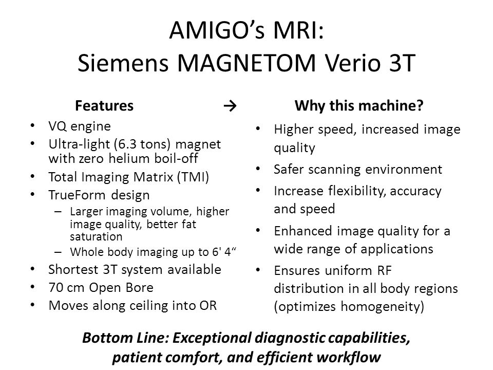 AMIGO's MRI: Siemens MAGNETOM Verio 3T