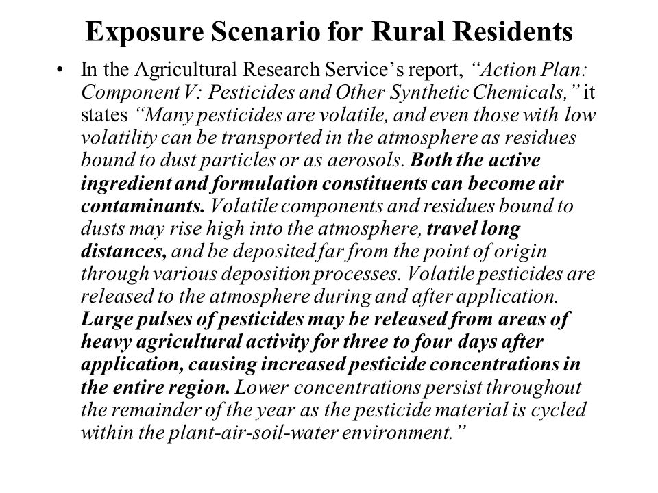 Exposure Scenario for Rural Residents