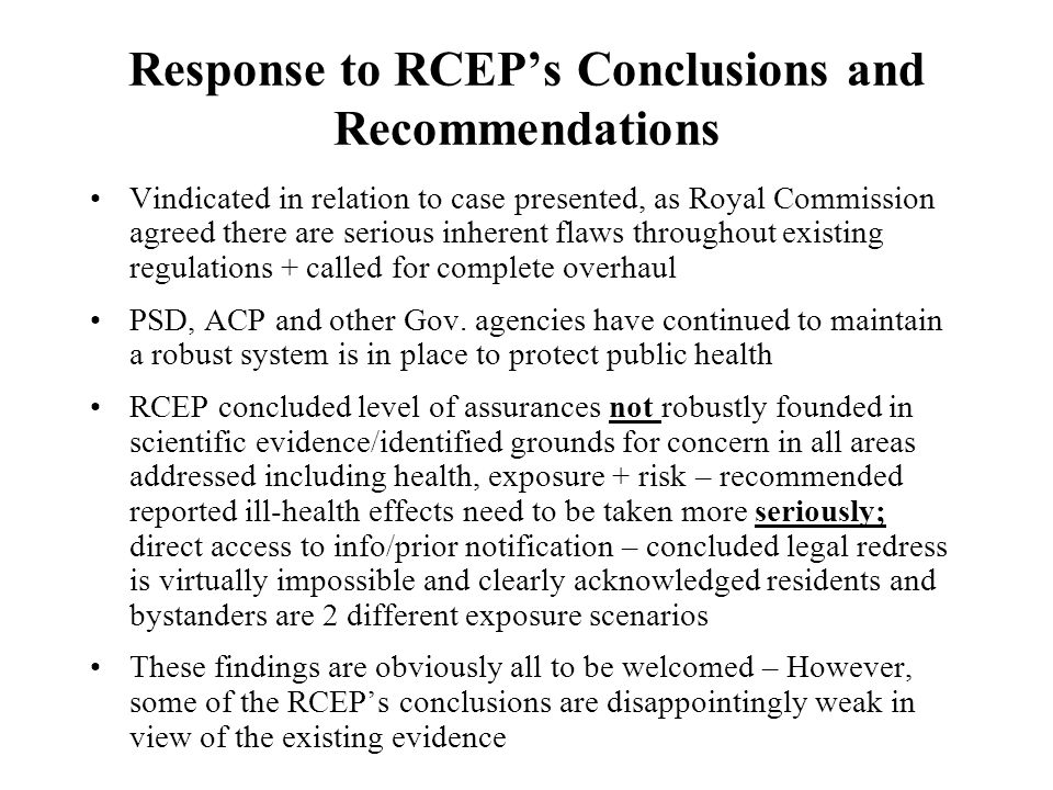 Response to RCEP's Conclusions and Recommendations