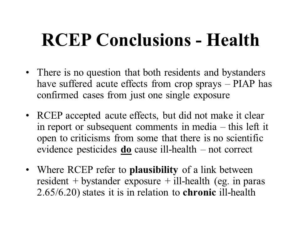 RCEP Conclusions - Health