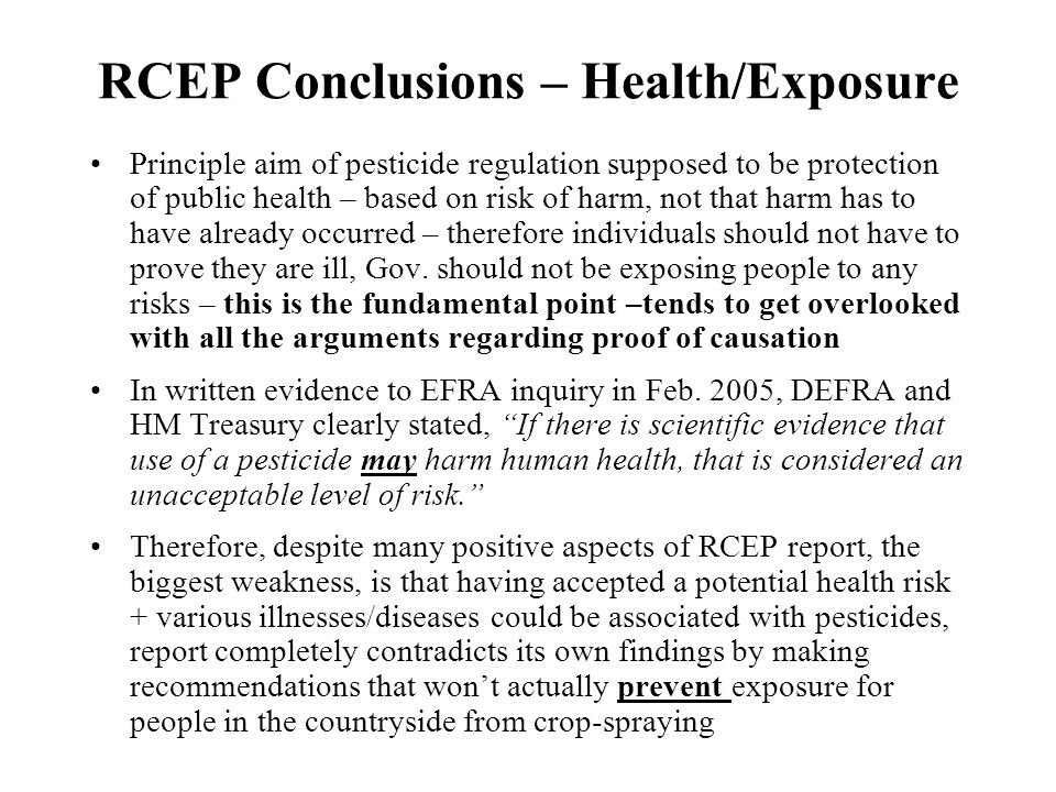 RCEP Conclusions – Health/Exposure