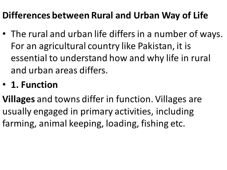 difference between urban and rural life essay