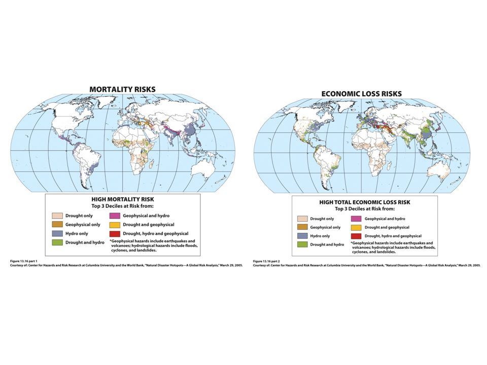 Figure 13.16 Natural Disaster Hot Spots. The top map shows the potential mortality risks if major natural.