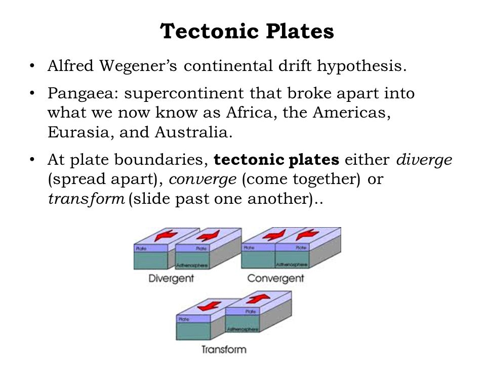 Tectonic Plates Alfred Wegener's continental drift hypothesis.