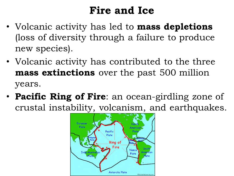 Fire and Ice Volcanic activity has led to mass depletions (loss of diversity through a failure to produce new species).