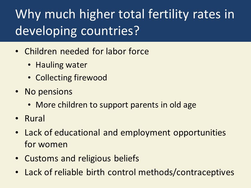 Why much higher total fertility rates in developing countries