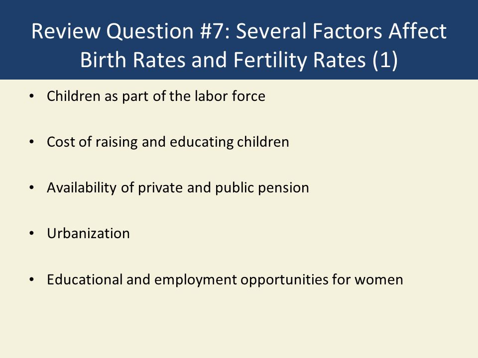Review Question #7: Several Factors Affect Birth Rates and Fertility Rates (1)