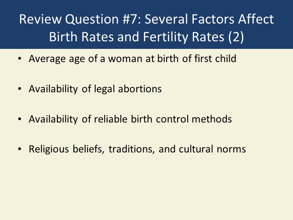 Review Question #7: Several Factors Affect Birth Rates and Fertility Rates (2)