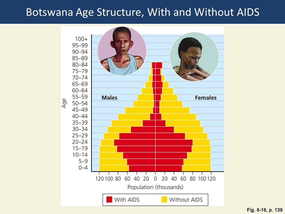 Botswana Age Structure, With and Without AIDS