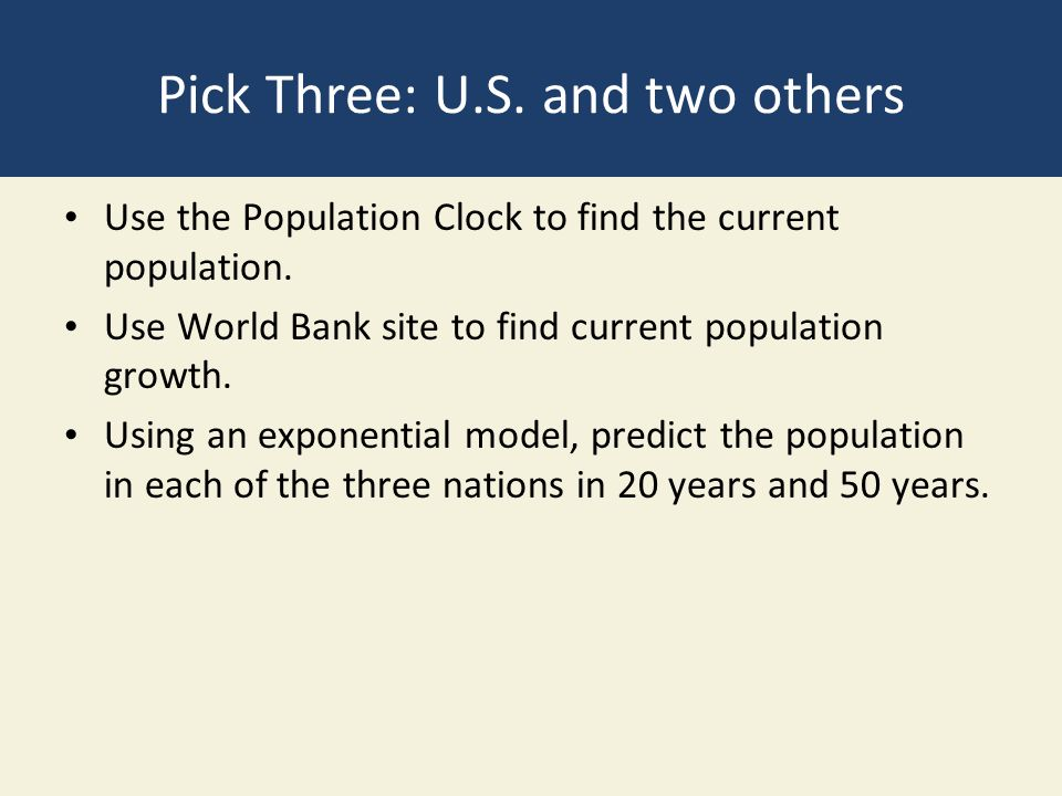 Pick Three: U.S. and two others