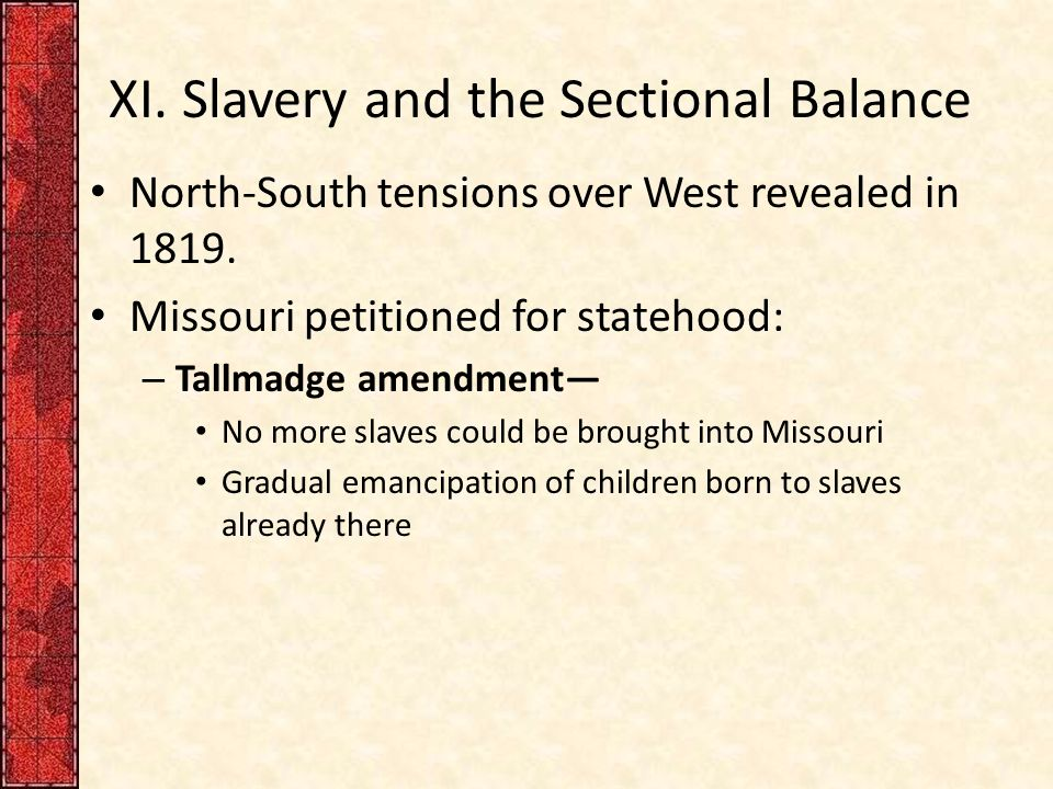 sectional tensions over slavery in 1840 Repeated attempts at political compromise failed to calm tensions over slavery and often made sectional tensions worse, breaking down the trust between sectional leaders and culminating in the bitter election of 1860, followed by the secession of southern states.