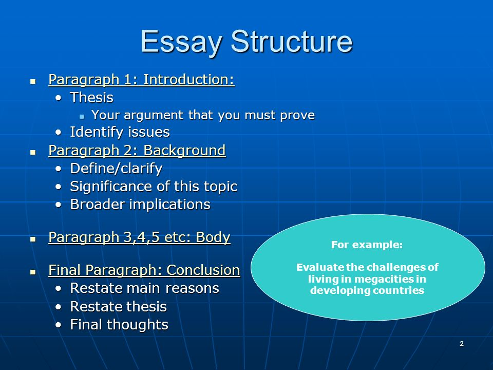 structure of an essay hsc