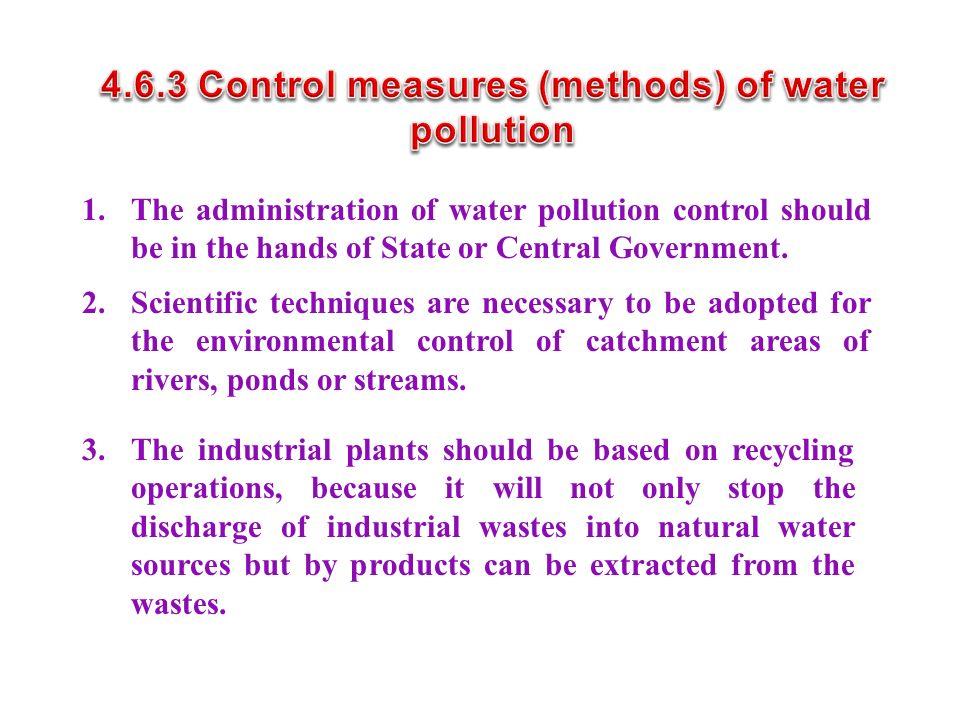 4.6.3 Control measures (methods) of water