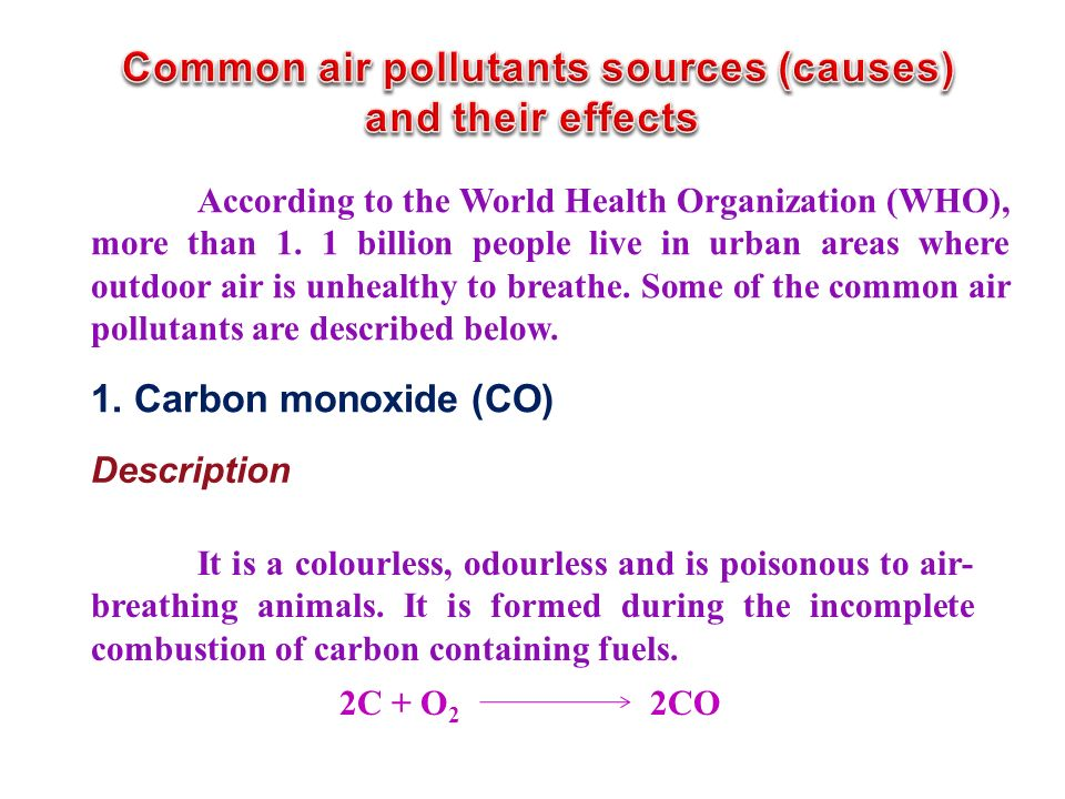 Common air pollutants sources (causes)