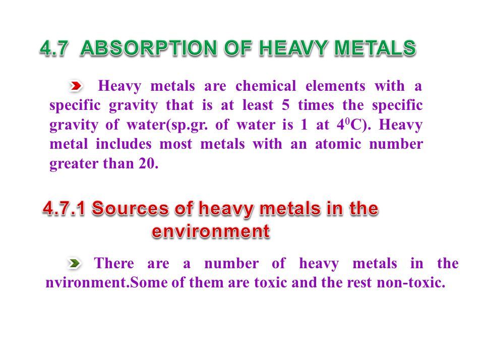 4.7 ABSORPTION OF HEAVY METALS 4.7.1 Sources of heavy metals in the