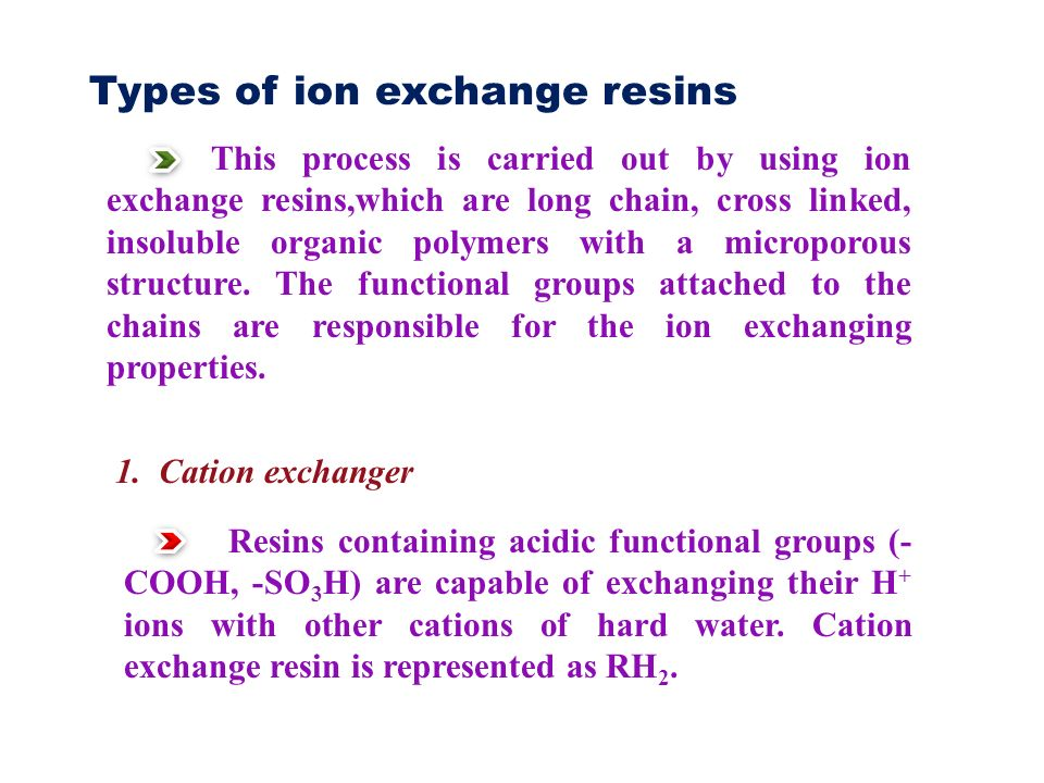 Types of ion exchange resins