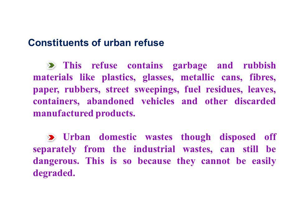 Constituents of urban refuse