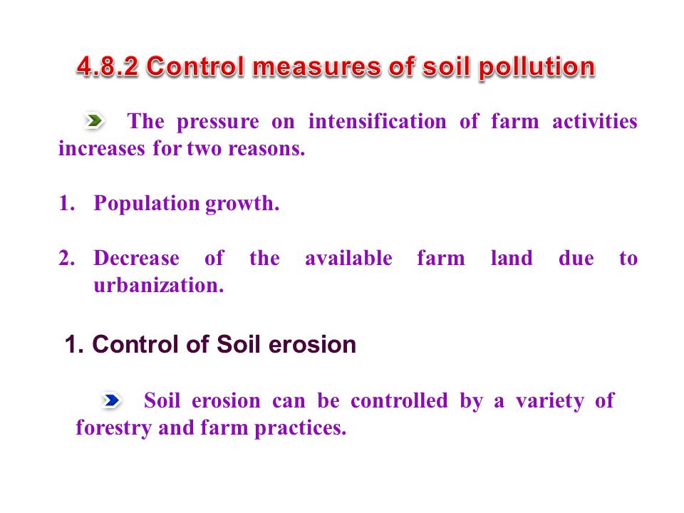 4.8.2 Control measures of soil pollution