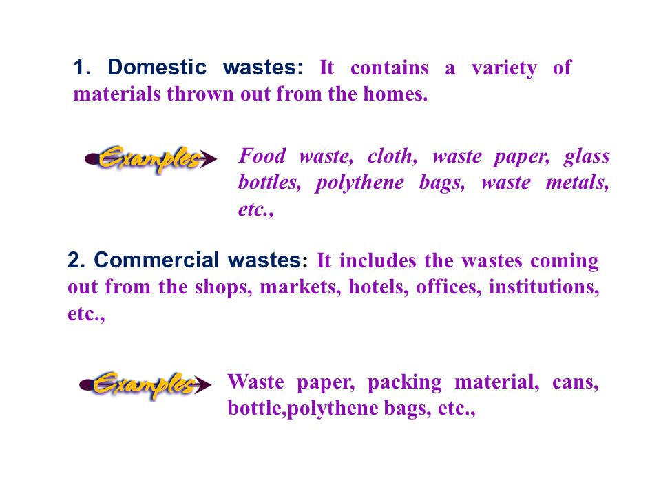 1. Domestic wastes: It contains a variety of materials thrown out from the homes.