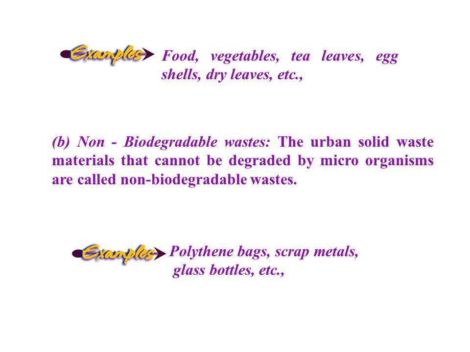 Food, vegetables, tea leaves, egg shells, dry leaves, etc.,