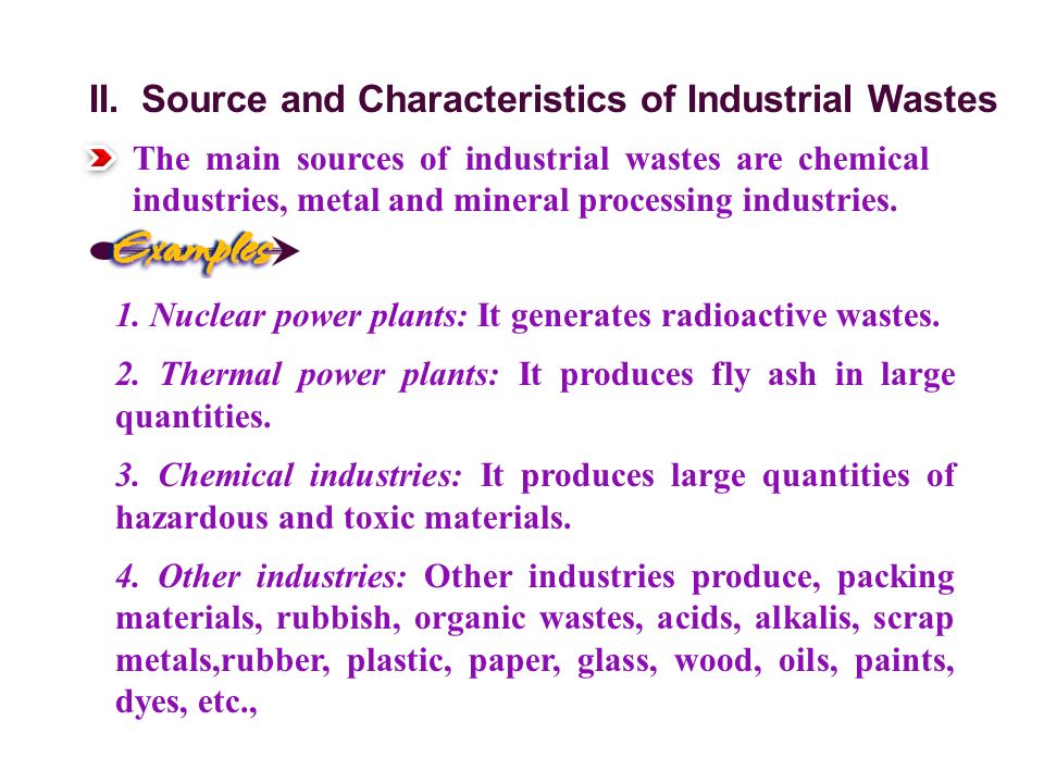 II. Source and Characteristics of Industrial Wastes