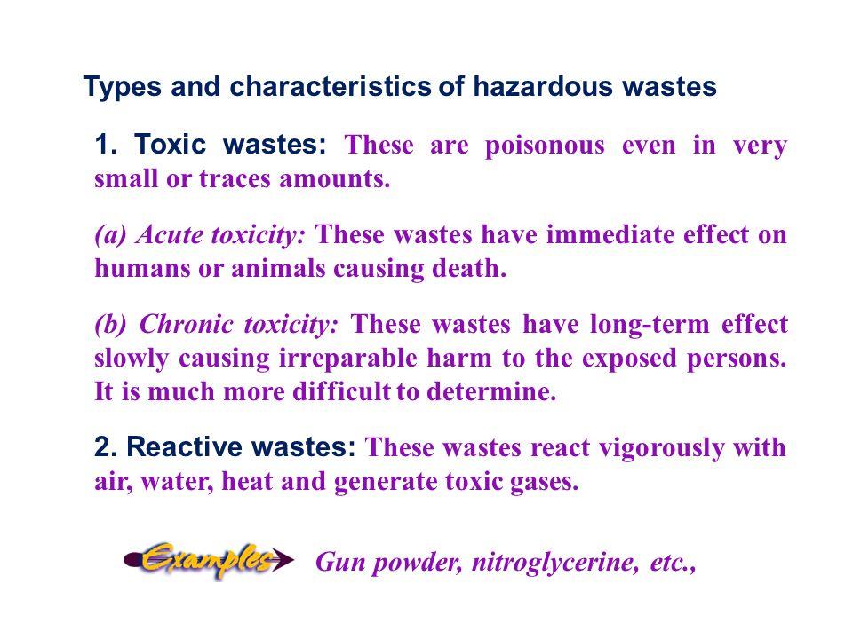 Types and characteristics of hazardous wastes