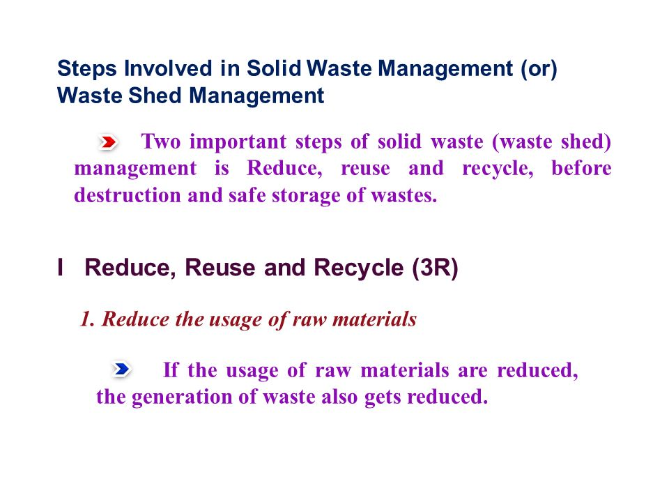 I Reduce, Reuse and Recycle (3R)