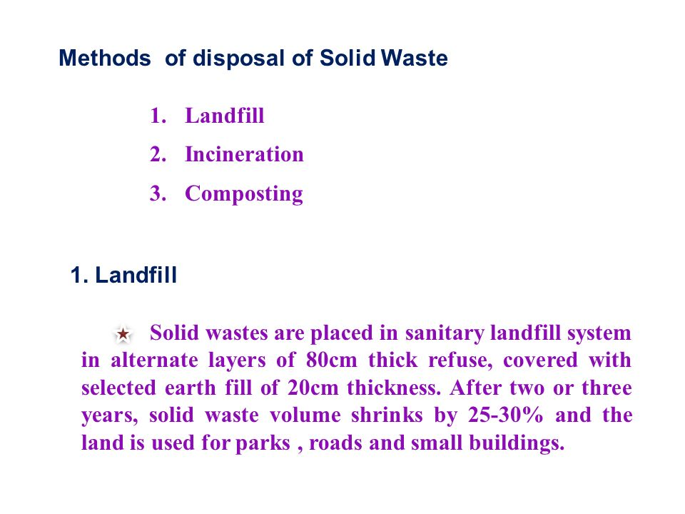 Methods of disposal of Solid Waste