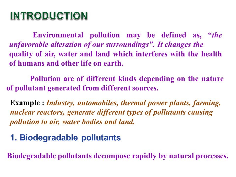 INTRODUCTION 1. Biodegradable pollutants