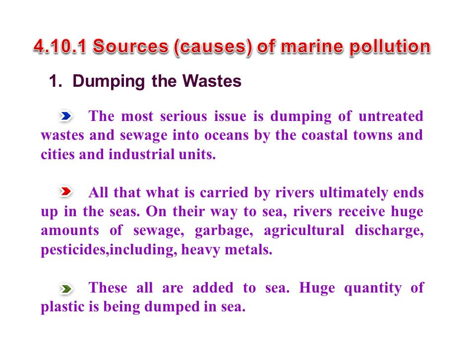 4.10.1 Sources (causes) of marine pollution