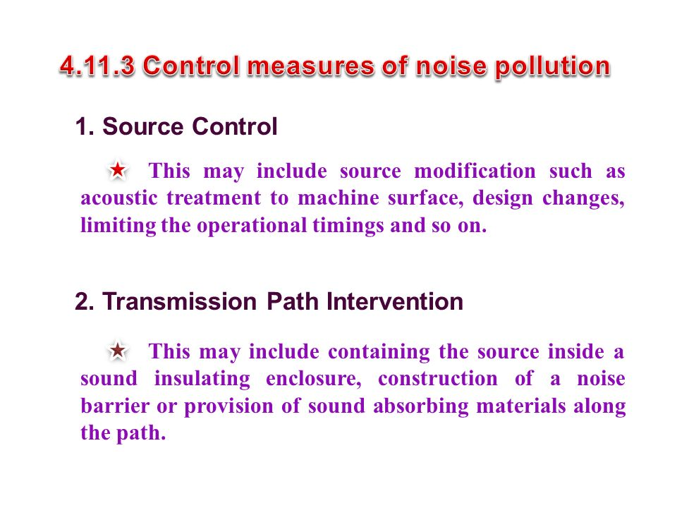 4.11.3 Control measures of noise pollution