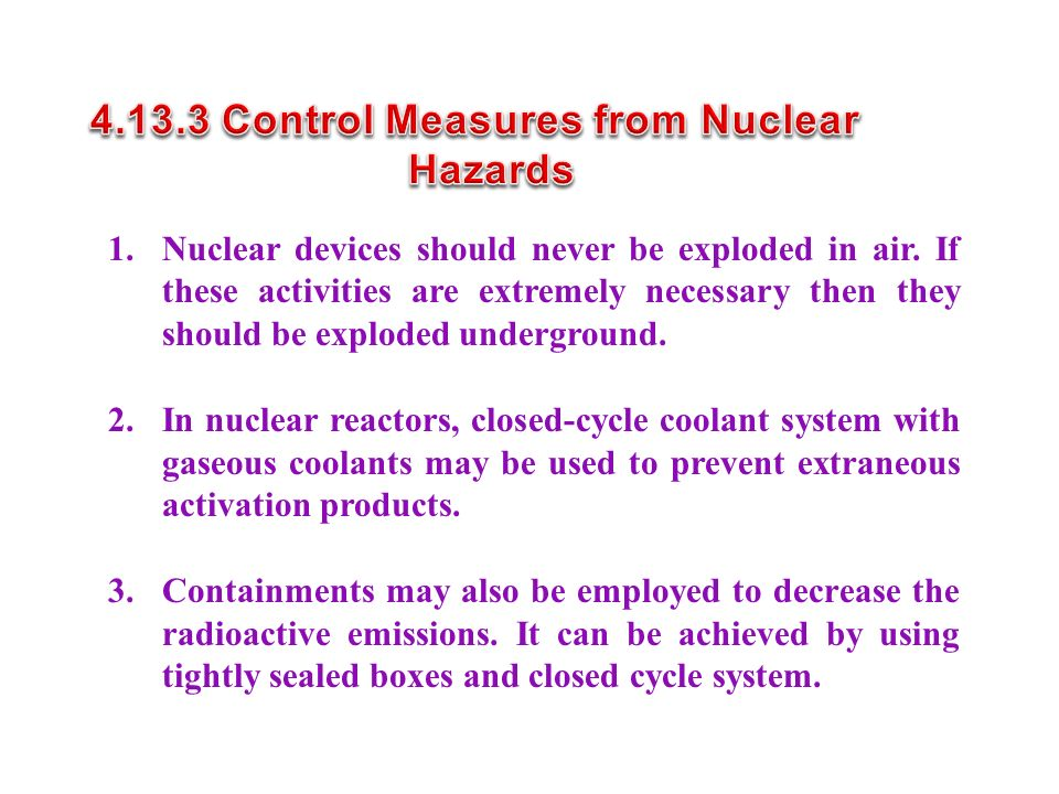 4.13.3 Control Measures from Nuclear Hazards