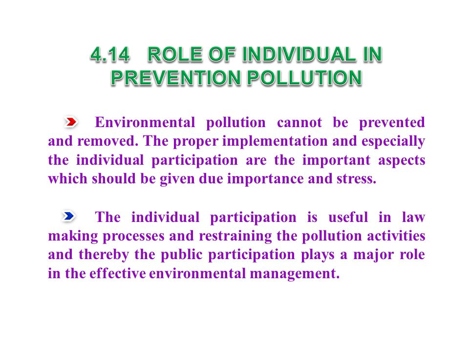 4.14 ROLE OF INDIVIDUAL IN PREVENTION POLLUTION